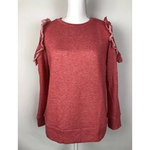 Caslon Cold Shoulder Long Sleeve Coral Sweatshirt